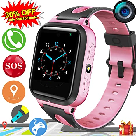 [2019 Upgrades] Kids Smart Watch Phone GPS Tracker for Kids Boys Girls Game Watch with Anti-Lost SOS Camera Flashlight 1.54 Touch Screen Cell Phone ...