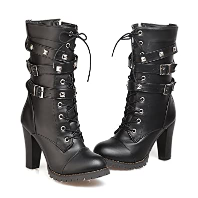 c57b575491a2 Susanny Women s Mid Calf Leather Boots Chic High Heel Lace Up Military  Buckle Motorcycle Cowboy Black