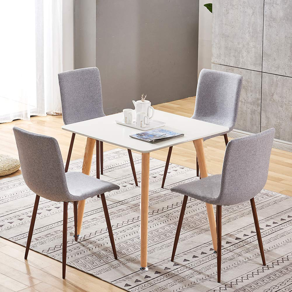 Dining Room Set For 4 Square Dining Table And 4 Grey Fabric Dining Chairs With Metal