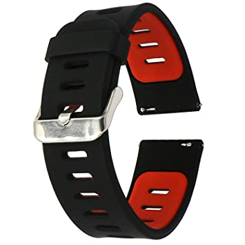 22mm Correa Silicona, EL-Move 22MM Silicona Banda Correas Brazalete de Pulsera para Pebble Time/Gear S3 Classic / Gear2(Black Red)