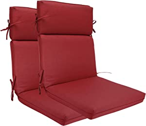 BOSSIMA Indoor Outdoor High Back Chair Cushions Replacement Patio Chair Seat Cushions Set of 2 (Olefin Red)