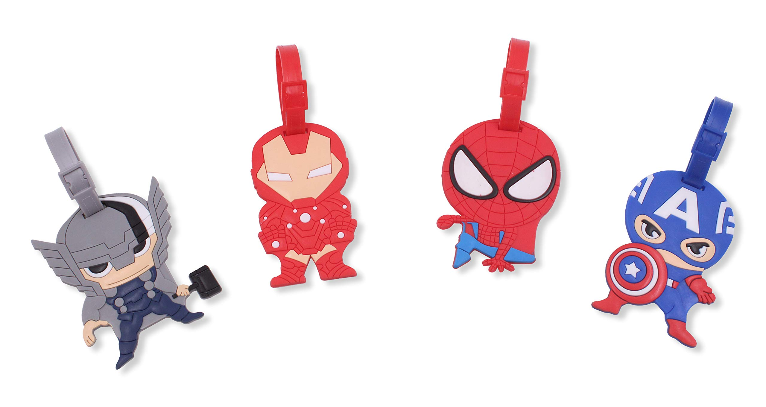 Finex Set of 4 - Avengers Captain America Iron Man Spiderman Luggage ID Tag Bags with Adjustable Strap Superhero by FINEX
