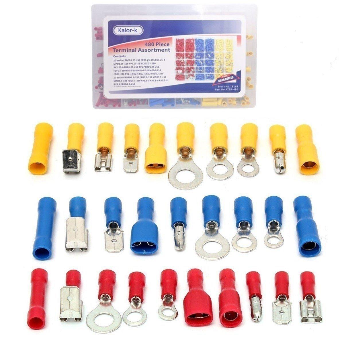 KalorK Surtido de terminales para cable elé ctrico, 480 piezas, 12 tamañ os, conectores, anillos, culatas y palas, incluye caja