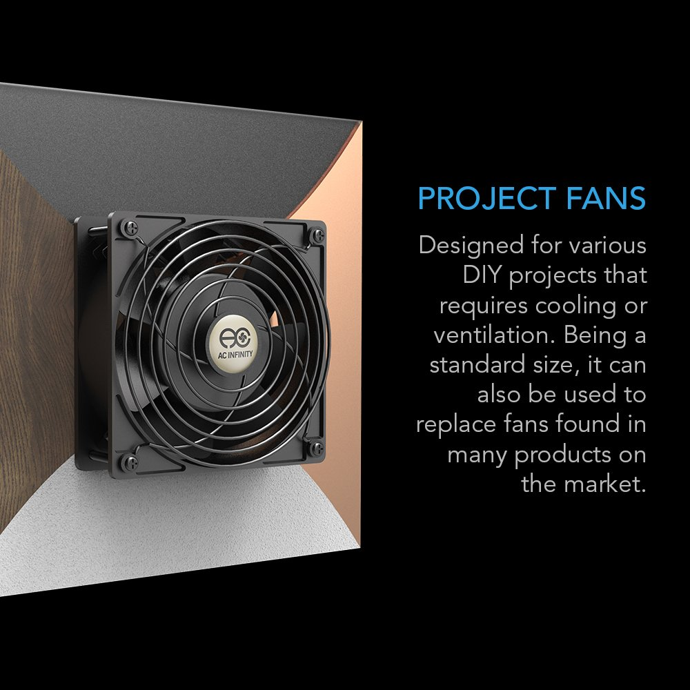 AC Infinity AXIAL 8038, Quiet Muffin Fan, 115V 120V AC 80mm x 38mm Low Speed, for DIY Cooling Ventilation Exhaust Projects by AC Infinity (Image #3)