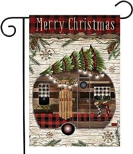 "Briarwood Lane Merry Christmas Camper Primitive Garden Flag Fir Trees 12.5""x18"""