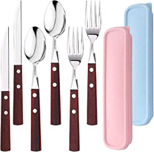 6Pcs Portable Utensils Set with 2Cases, AUHOKY Premium Stainless Steel Knife Fork Spoon with Wooden Handle, Reusable & Eco-Friendly Flatware Sets Cutlery Ideal for Travel Office Lunch Camping(B)