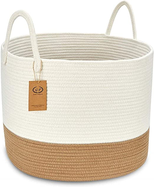 GreenPastures Large Cotton Rope Baskets 18 x 16 inches Woven Cotton Storage Basket with Handles Round Decorative Blanket Basket for Baby Toy Towel Book Pillow Clothes in Nursery Room Living Room