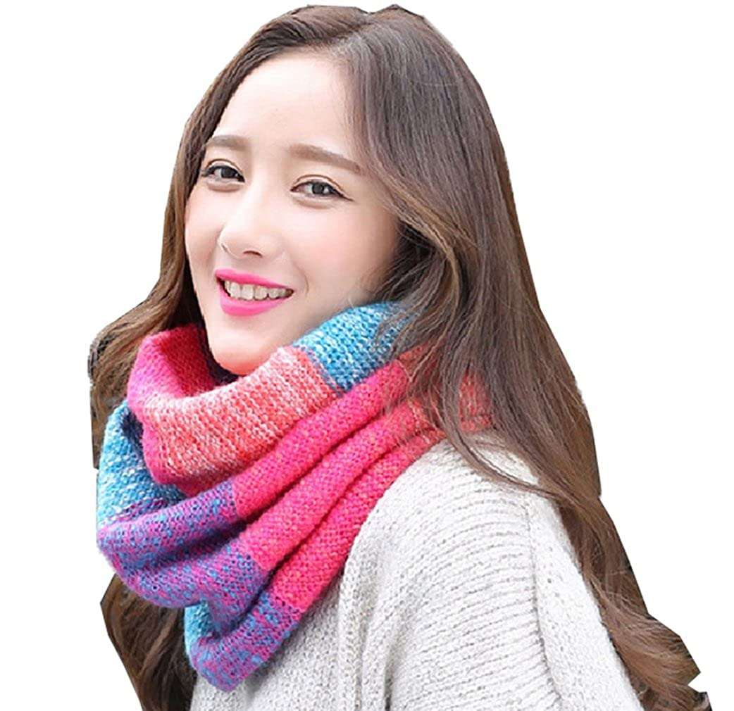 COMVIP Unisex Couples Thicken Woolen Knitted Winter Circle Loop Scarf 6FWJ031B*1$CY