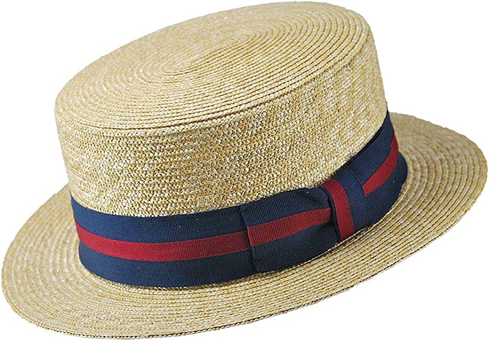1940s Mens Hats | Fedora, Homburg, Pork Pie Hats Jaxon Striped Band Skimmer $40.00 AT vintagedancer.com