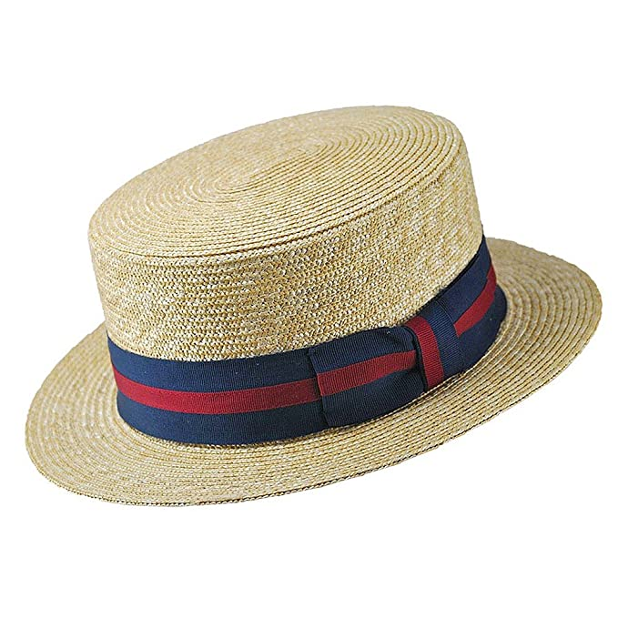 Edwardian Men's Fashion & Clothing Jaxon & James Straw Boater Hat - Striped Band �32.95 AT vintagedancer.com
