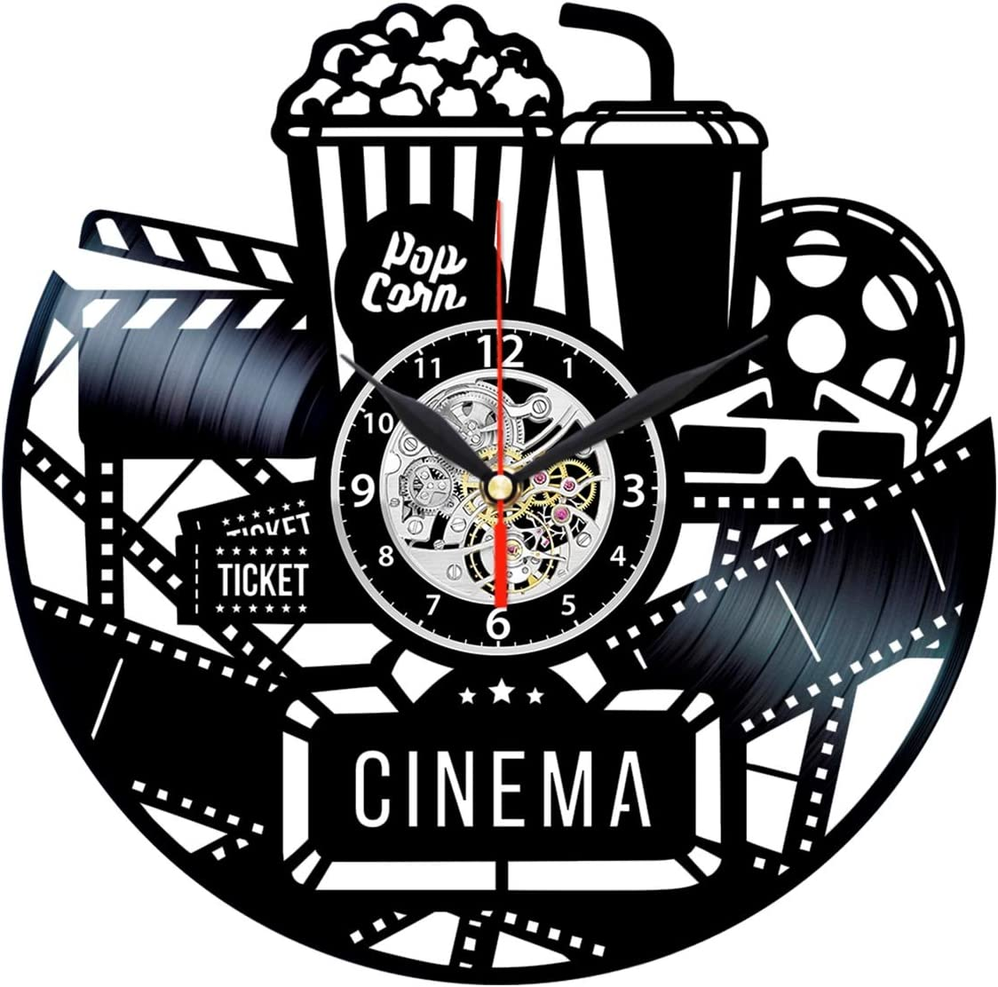 Cinema Clock - Vinyl Record Wall Art - Movie Room Decor - Film Gifts for Men