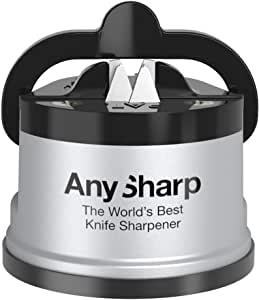 AnySharp Global Knife Sharpener with PowerGrip, Silver