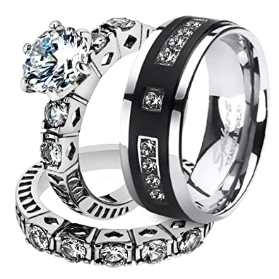 his her stainless steel 310 ct cz bridal set mens titanium wedding band womens