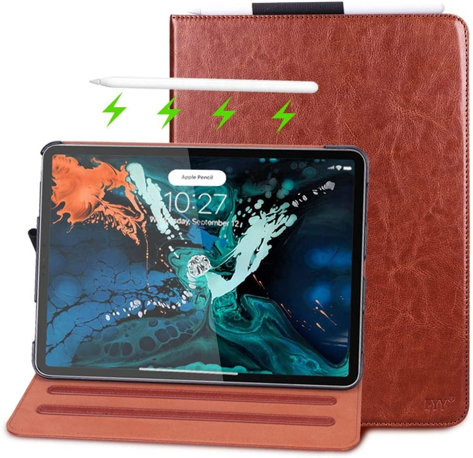 FYY New Apple iPad Pro 12.9 inch 3rd Generation 2018 Case [Support Apple Pencile Charging], Folio Leather Case Cover with [Auto Sleep/Wake Feature] [Card Slots] and [Multiple Angles] Brown