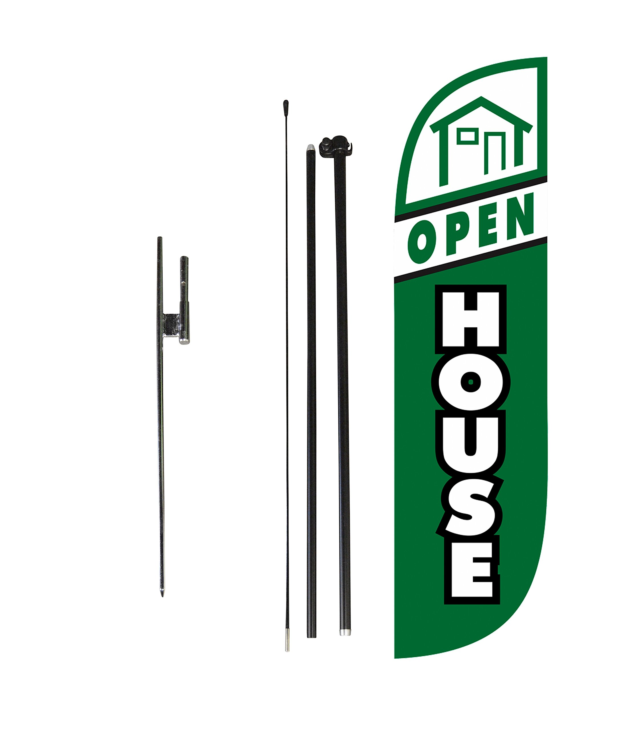 LookOurWay Open House Green Feather Flag Complete Set with Poles & Ground Spike, 5-Feet