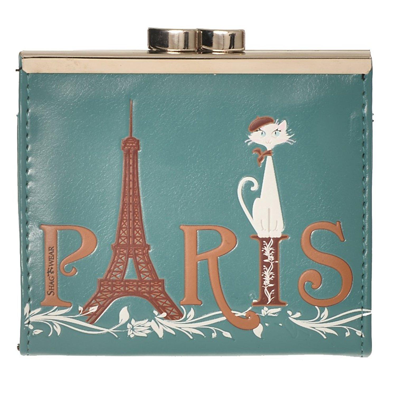 Shag Wear Women's Coin Purse Teal Paris Cat by Shag Wear