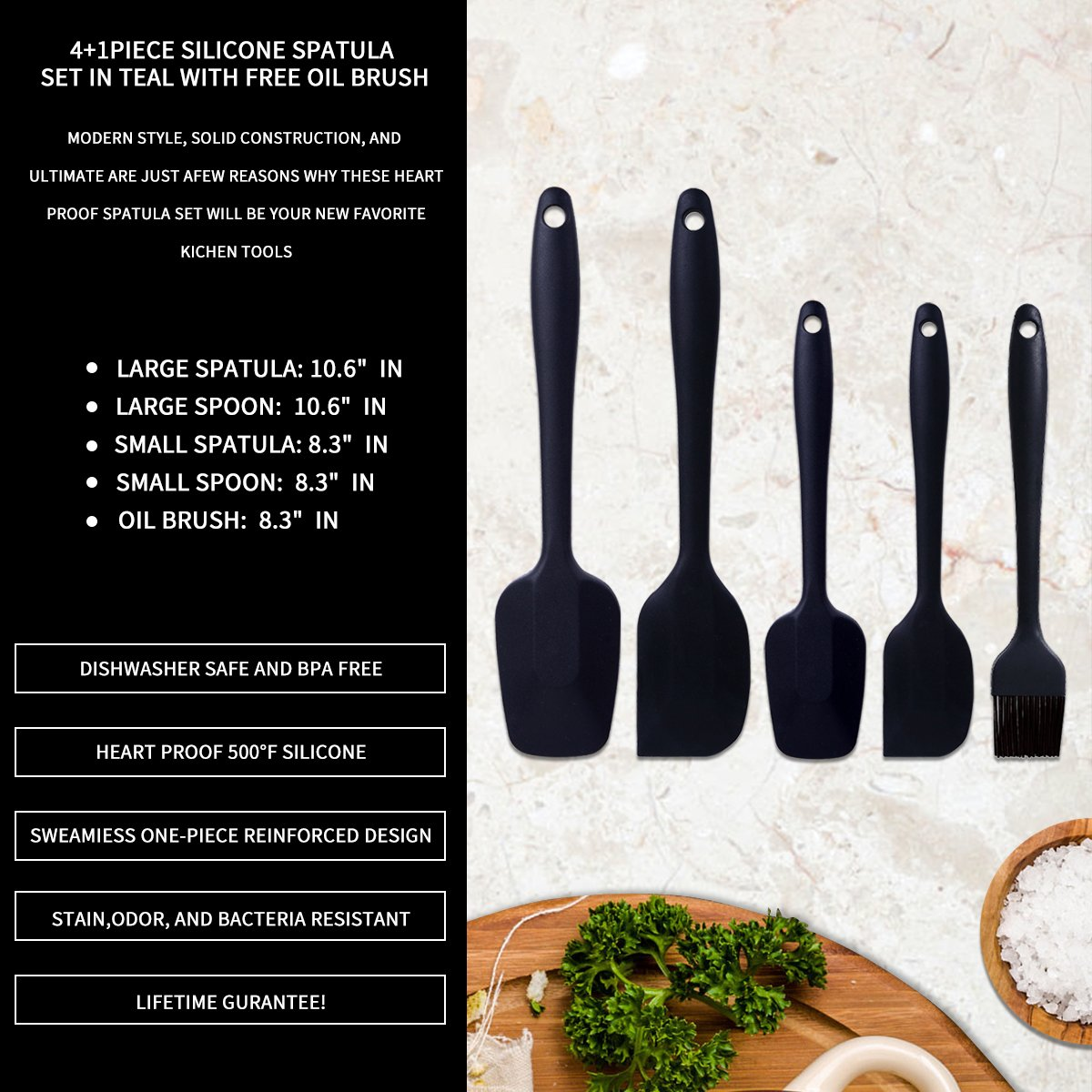 Silicone Spatula Set WISHPOOL 4+1-Piece Non-Stick/Heat Resistant kitchen Cooking Utensil Set Created for Cooking/Baking and Mixing with free gift Silicone Oil brush