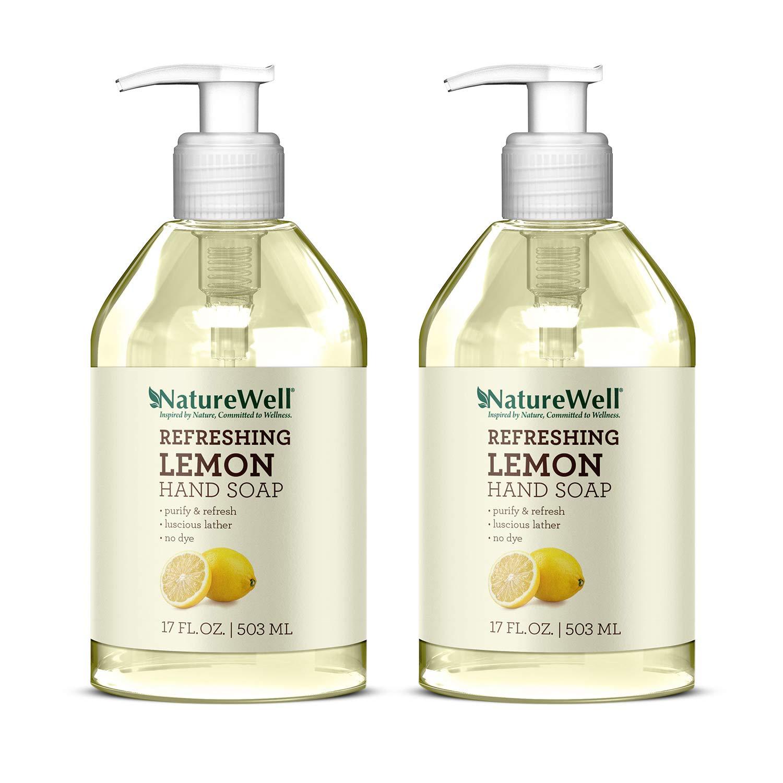 New NatureWell Refreshing Lemon Hand Soap 2-Pack, 17 fl oz. each | 100% Vegan, No Parabens or Dyes
