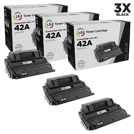 Amazon.com: LD© Reemplazos para HP 42 A/Q5942 A 3pk Negro ...