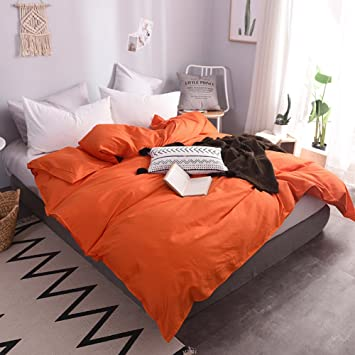Beau Housse De Couette 220 X240 Coton Blanc/Bleu/Orange/Brune/Grise Simple