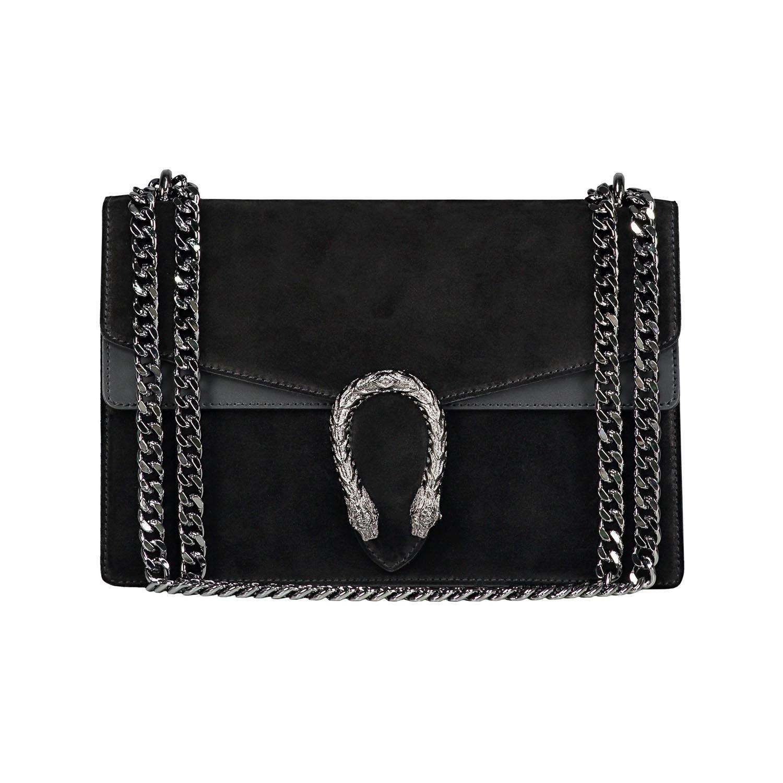 Italian cross body chain bag, designer evening purse, shoulder bag, handbag, flap bag, suede genuine leather (Medium, Black)