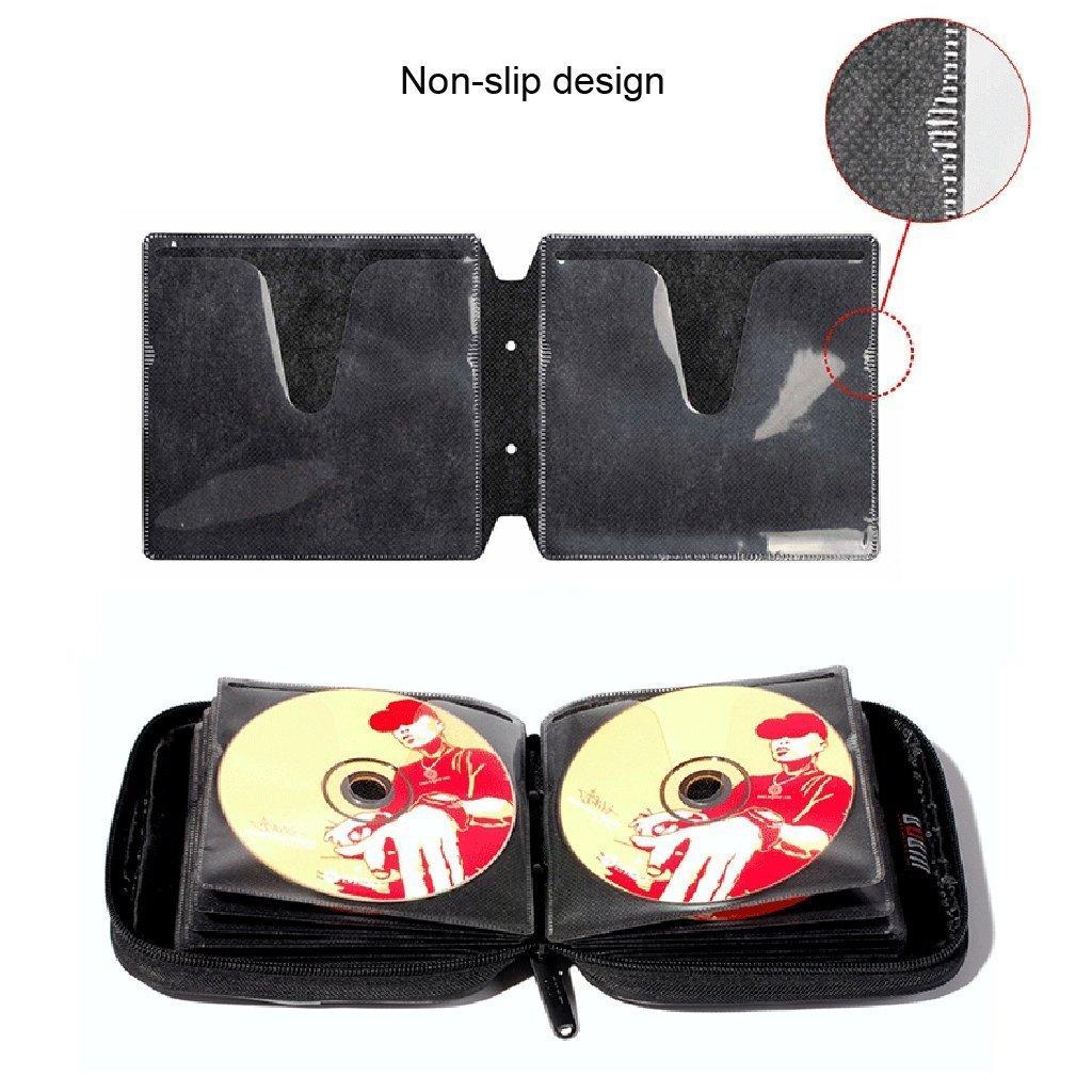 BUBM PU Smooth Leather Cover 32 Disc Case CD DVD Wallet Storage Organizer Travel Bag (Black) by BUBM (Image #4)