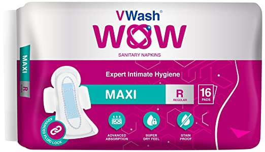 Vwash Wow Maxi Sanitary Napkin - 16 Count (Regular)