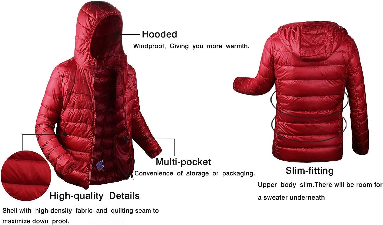 Aixy Womens Ultra Light Weight Packable Hooded Down Jacket Short Puffer Coats