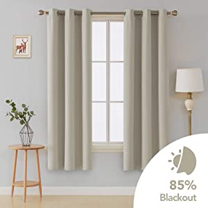 Deconovo Room Darkening Curtain Thermal Insulated Grommet Curtains for Living Room 42x72 Inch Light Beige 2 Curtain Panels