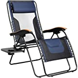 PORTAL Oversized Mesh Back Zero Gravity Recliner Chair, XL Padded Seat Adjustable Patio Lounge Chair with Lumbar Support Pill