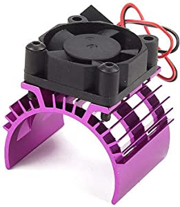 ShareGoo Alloy heat sink Heatsink with 5V Cooling Fan for 1/10 Car 540 550 3650 Size Brushless Engine Motor,For Remote Control Car Truck Buggy Crawler(Purple)