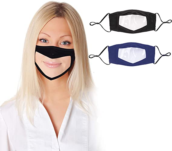 Thinktoo 10Pcs Clear Face Mask Reusable and Washable Also for Deaf and Hard of Hearing Face Bandanas with Clear Window Indoors and Outdoors