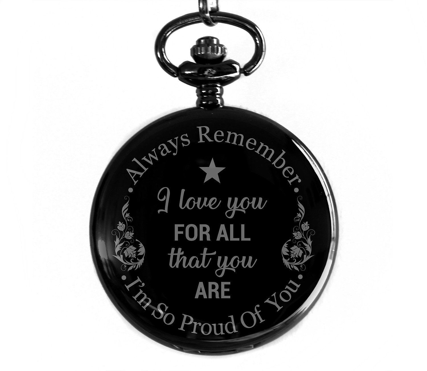 Cronos - I Love You For All That You Are - Laser Engraved Metallic Pocket Watch - Gift for Son, Father, Husband, Boyfriend, Bestfriend and Men of All Ages