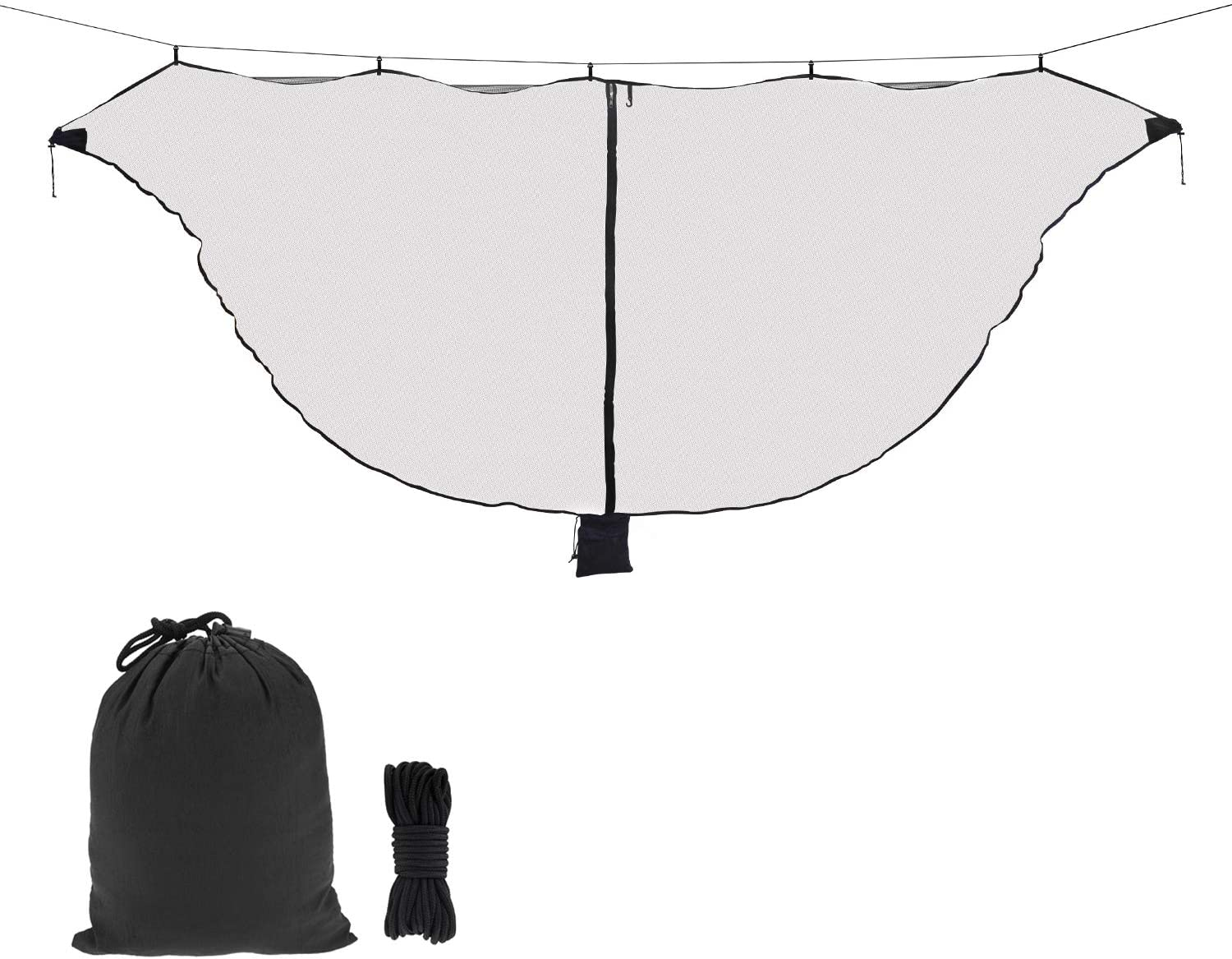 Hammock Net Camping Net Fits for All Camping Hammocks, Polyester Netting for 360 Degree Protection and Double Sided Zipper for Easy Access: Sports & Outdoors