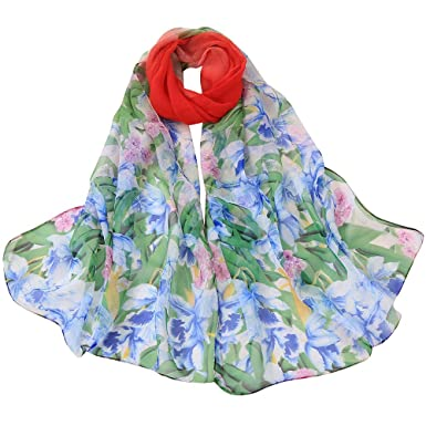 ecf262830c4 AIMEE7 Femmes Écharpe Longue Mode Imprimé Fleur Foulard Élégant Soirée Pas  cher Châle Automne Hiver(Rouge)  Amazon.fr  Fournitures de bureau