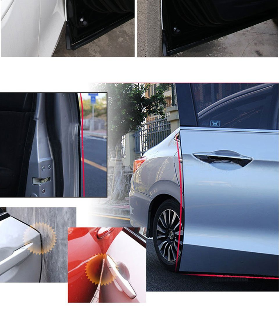 easy DIY Installation Internal Double Sided Tape 5M Car Door Edge Guard Strip U Shape Vehicle Rubber Seal Protected Lining Trim Molding fits most cars 16ft Black
