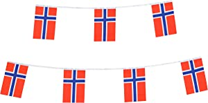 TSMD Norway Flag, 100 Feet Norwegian Nordmann Flag National Country World Pennant Flags Banner,International Party Decorations for Grand Opening,Olympics,Bar,School Sports Events,Festival Celebration
