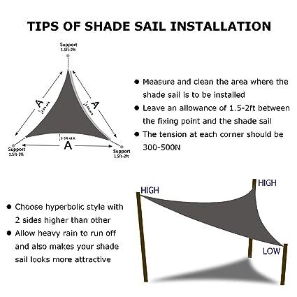 Uni-Wert Toldo Vela de Sombra triángulo Azul, Impermeable Transpirable toldo 3 x 3 x 3 m, Prevenir eficazmente los Rayos UV.