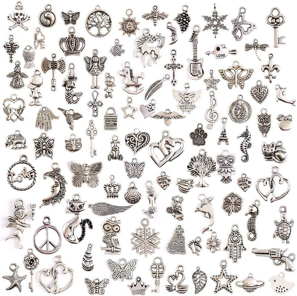 100 Unidades DIY Accesorios Mezclados de Plata tibetana Estilos Colgantes del Encanto de la joyería de Bricolaje para la Pulsera Collar Pendientes