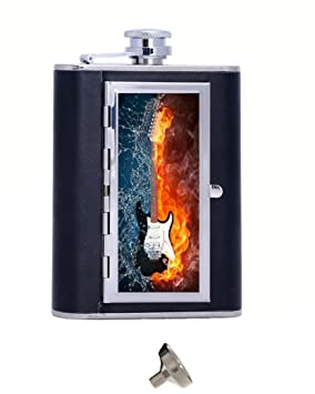 Una Guitarra eléctrica con fuego y agua personalizado 6 oz Petaca en caja de regalo con embudo y 2 tomas de regalo de boda, regalo de cumpleaños: Amazon.es: ...