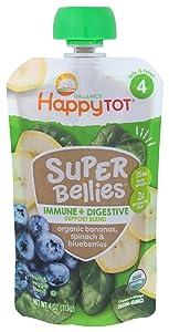 HAPPY TOT Organic Super Bellies Immune & Digestive Support Baby Food, 4 OZ