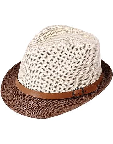 Leisial Sombrero del Jazz Paja Sombrero Pequeño Británico Doble Color  Sombrero Sol Verano Playa para Unisex d7530a34fbe