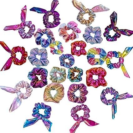 15X Flower Chiffon Hair Bow Scrunchies Hair Elastic Hair Bands Ties Ponytail UK