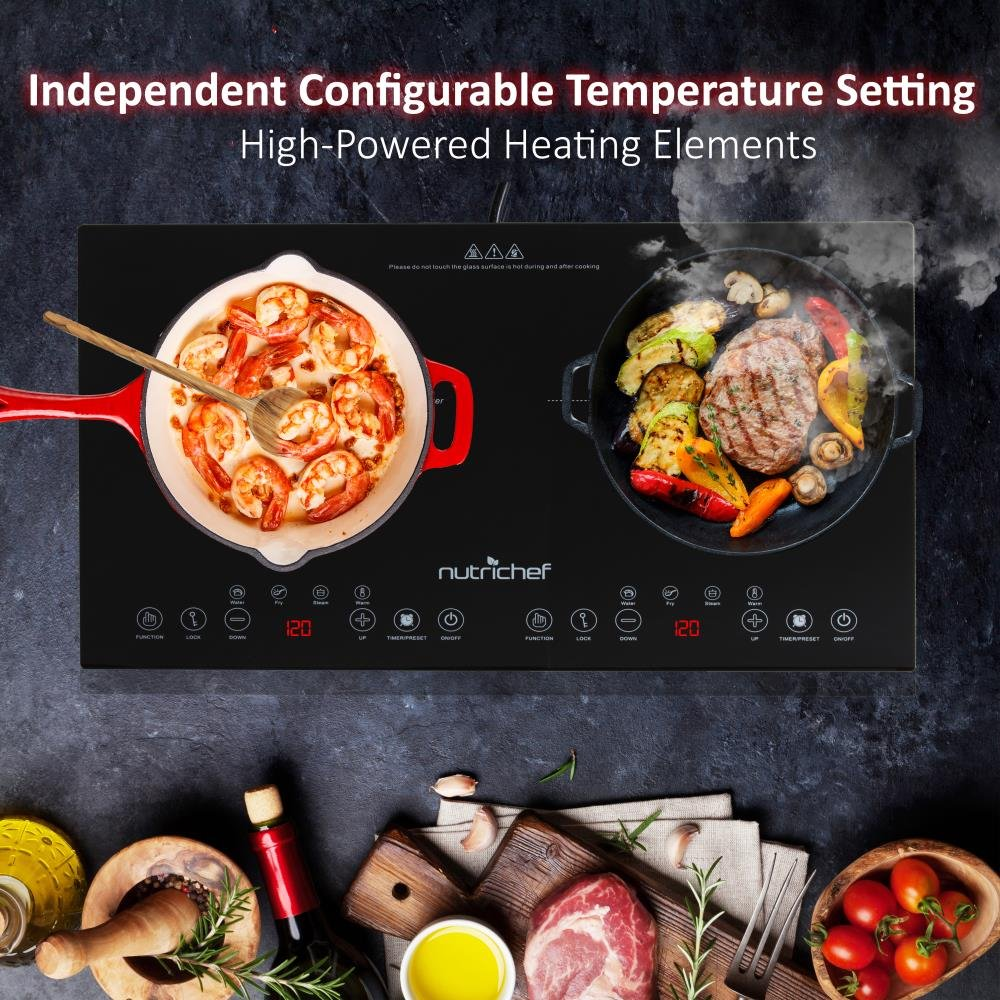 NutriChef Portable Dual 120V Electric Induction Cooker Cooktop - Digital Ceramic Countertop Double Burner w/ Kids Safety Lock - Works with Stainless Steel Pan & Other Magnetic Cookware by NutriChef (Image #4)