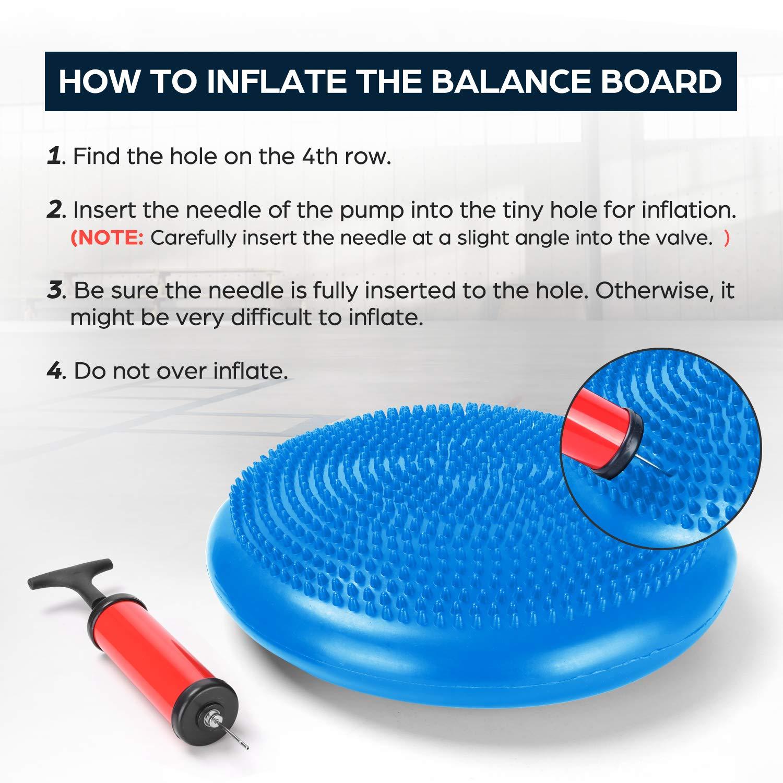 Disco de Equilibrio con Bomba Di/ámetro 33 cm Odoland Cojines de Equilibrio Inflable Set Coj/ín Oscilante para Ni/ños Soporte para Espalda y Alivio del Dolor