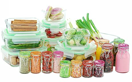 Kinetic 11414 Go Green Glassworks Series 30 Piece Set Glass Food Storage  Container With Lid And