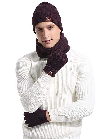 3fdb9977e308 Abollria Bonnet Chapeau Tricot Gant d écran Tactile, Tour de Cou avec Doublure  Polaire