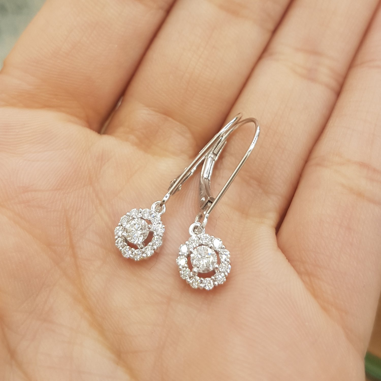c6c8b85f04ffcc Amazon.com: 0.55 Carat (ctw) 14K White Gold Round Cut Diamond Ladies  Cluster Halo Style Drop Earrings 1/2 CT: Jewelry