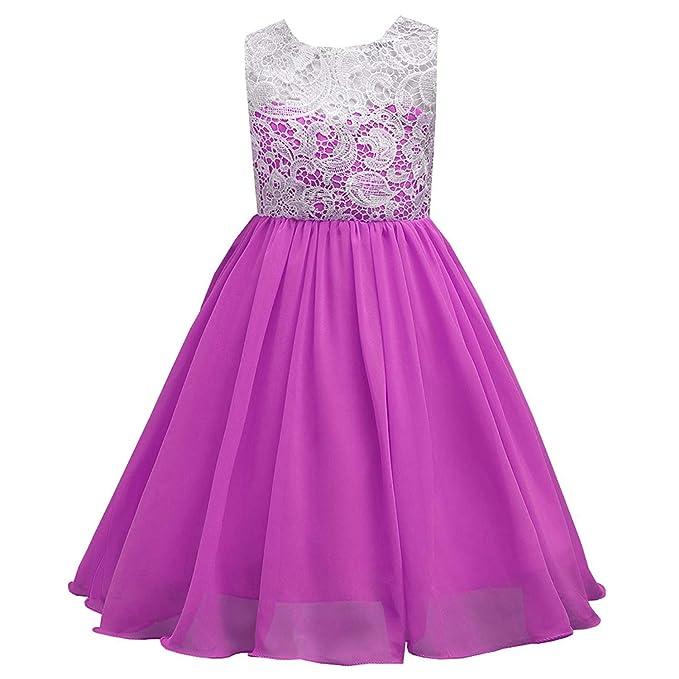 Timlung Niñas Vestido de Encaje con Flores Ropa de Boda Fresco Verano Para, Violeta,