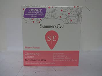Summers Eve Eve Cleansing Cloths for Sensitive Skin, Sheer Floral 16 ea By Nature Avocado Oil & Rice Face Mask